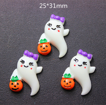 10pcs 25*31mm Ghost Dievčenskú Boo s Tekvice Halloween Party Živice Cabochons Flatback DIY Remesiel Scrapbooking